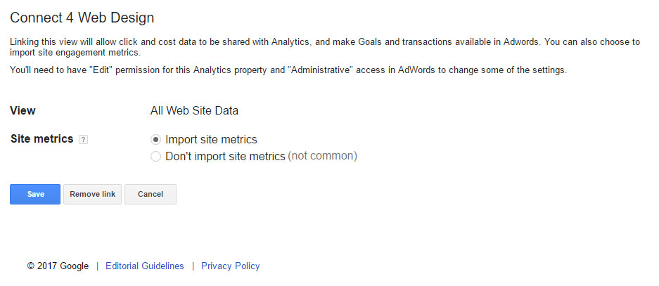Show Analytics in AdWords