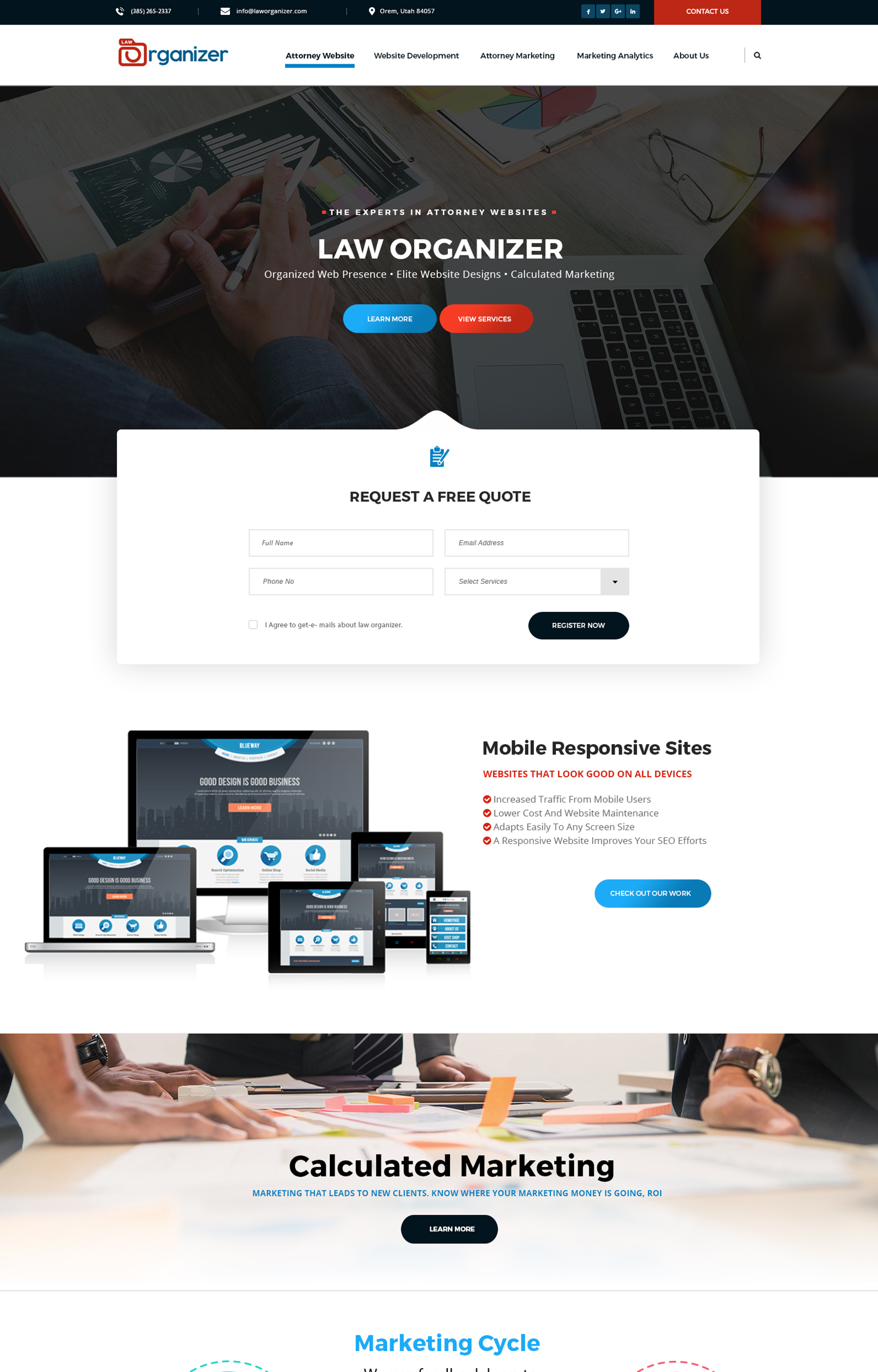 Law Organizer Home Page Design